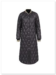 黑色立领女士加长款羽绒服生产厂家